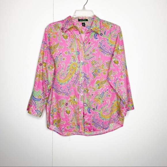 Ralph Lauren Paisley Button Down Blouse Pink L